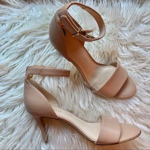 """NINE WEST tan open toe strap 3""""  heels size  6.5"""